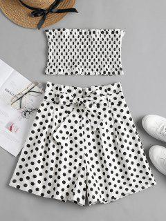 Smocked Polka Dot Shorts Set - White L