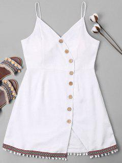 Pompom Trim Cami Button Up Dress - White M