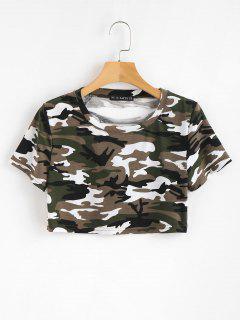 Ausgeschnittenes Camouflage T-Shirt - Acu Tarnanstrich L