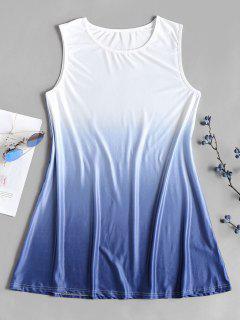 Ombre Color Tunic Shift Mini Dress - White S