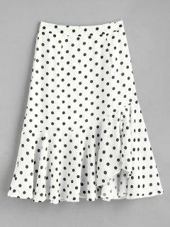 Polka Dot Ruffle Midi Skirt - White S