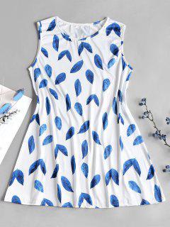 Leaf Print A Line Mini Tunic Dress - Blue L
