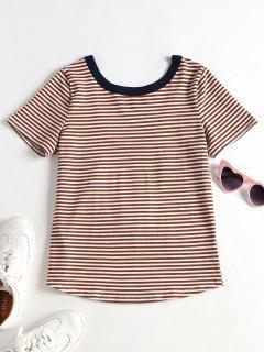 T-shirt Rayé à Encolure Dégagée - Multi