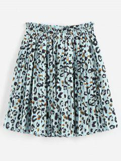 Leopard Print Pleated Mini Skirt - Baby Blue