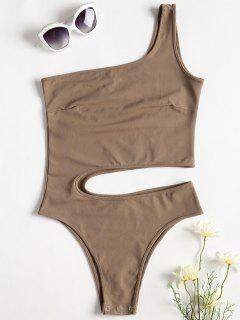 One Shoulder Cut Out Bodysuit - Camel Brown S
