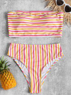 Striped Tube Top With High Cut Bikini Bottoms - Multi M