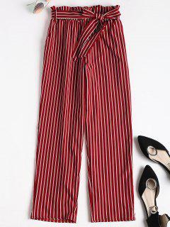 Novena Pantalones De Bolsa De Papel Rayado - Rojo M