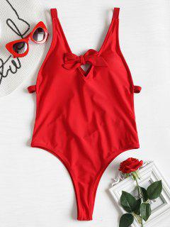 Strappy Tie Front High Cut Swimsuit - Lava Red S