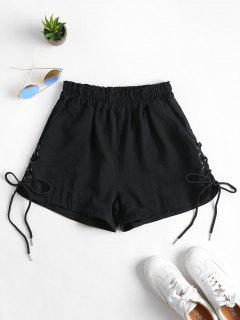 Pockets Lace Up High Waisted Shorts - Black Xl
