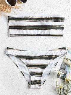 Horizontal Stripe Bandeau Bikini Set - Army Green L