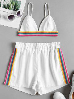 Bralette Colorful Striped Top And Shorts Set - White L