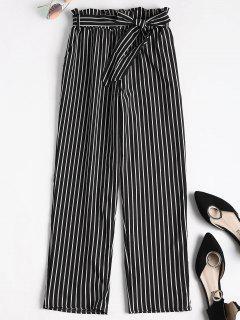 Novena Pantalones De Bolsa De Papel Rayado - Negro S