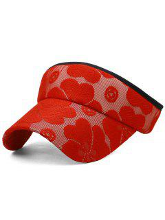 Floral Embroidered Open Top Sun Hat - Love Red