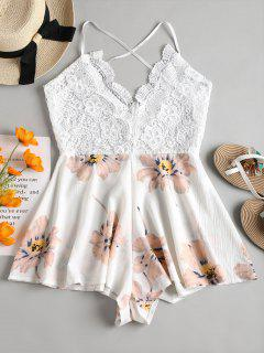 Crochet Backless Breezy Floral Romper - White M