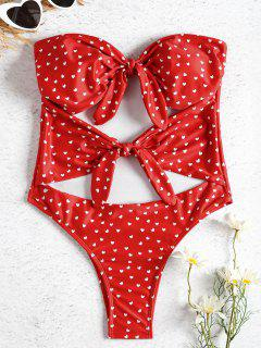Strapless Knot Cut Out Heart Swimsuit - Fire Engine Red S