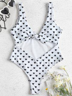 Heart Print Cut Out Swimsuit - White L