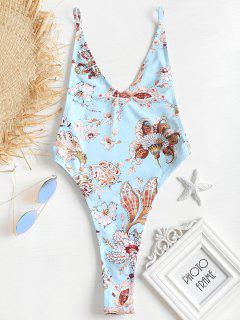 Printed Low Back Thong Swimsuit - Light Blue S