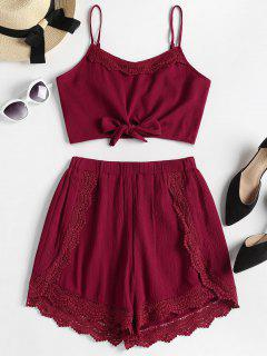 Knotted Crochet Trim Top And Shorts Set - Red Wine L