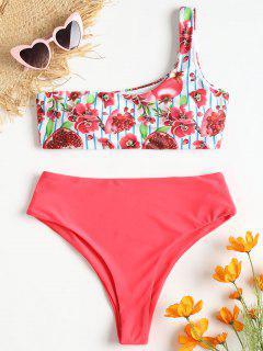 Pomegranate Print One Shoulder Bikini - Watermelon Pink S