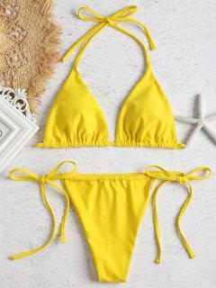 Halfter Knoten Riemchen Seitlicher Bikini - Niedliches Gummi Gelb S