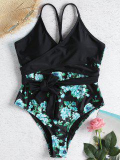 Traje De Baño Cruzado Floral Con Lazo Cruzado - Negro S