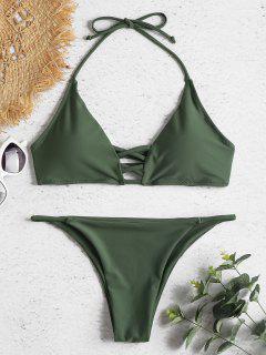 Strappy Halter Bikini Set - Dark Sea Green M