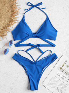Ensemble De Bikini Enveloppé à Bretelle Coupe Haute - Bleu Ruban L