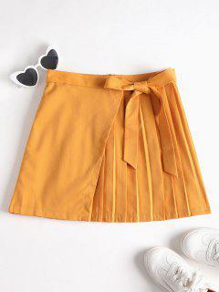 Overlap Pleated Mini Skirt - School Bus Yellow M