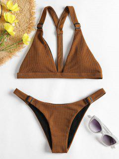 Ribbed Y Line Low Waisted Bikini - Brown S