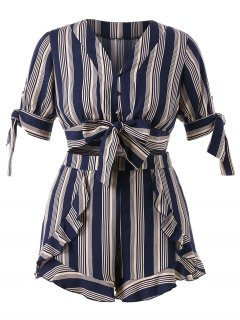 Plus Size Striped Bowknot Shorts Set - Dark Slate Blue 2x