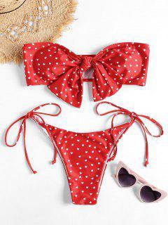 Bikini Bandeau En Ensemble Avec Noeud Papillon à La Poitrine - Rouge M