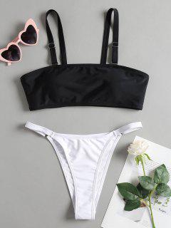 String Two Tone Cami Bikini - Black M