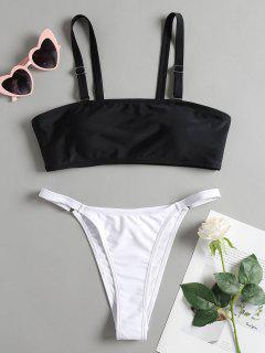 String Two Tone Cami Bikini - Black L