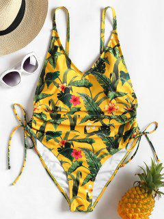 Jungle Leaves High Leg Tied Swimsuit - Rubber Ducky Yellow S