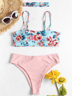 Floral Bandeau Choker Bikini - Light Blue L