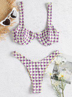 Colorido Conjunto De Bikini Con Aros A Cuadros - Multicolor M