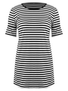 Striped Plus Size T-Shirt Dress - Black 3x
