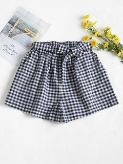 High Waisted Gingham Paper Bag Shorts - Multi-a S