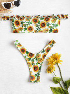 Frilled Sunflower Off The Shoulder Bikini - Multi-j S