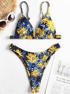 High Cut Floral Pattern Bikini - Denim Dark Blue S