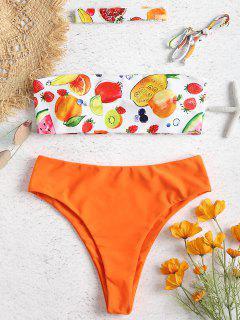 Fruit Print Bandeau High Leg Bikini - Dark Orange M