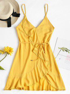 Belted Crochet Trim Ruffles Dress - Sun Yellow L