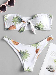 Bikini Bandeau à Nœud Et Imprimé D'ananas - Blanc L