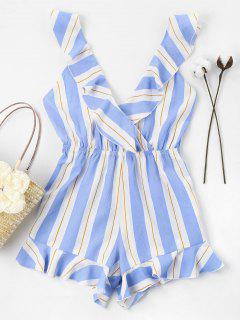 Striped Ruffles Romper - Sky Blue M