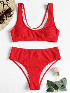 Conjunto De Bikini De Talle Alto Acolchado Con Cuello Redondo - Rojo Lava S