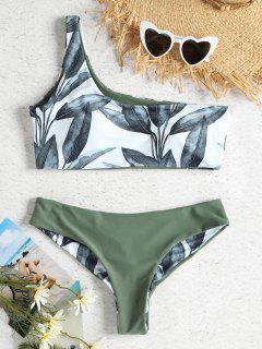 Leaf Print One Shoulder Bikini - Camouflage Green M