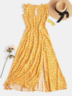 Tiny Floral Slit Cut Out Dress - Golden Brown S