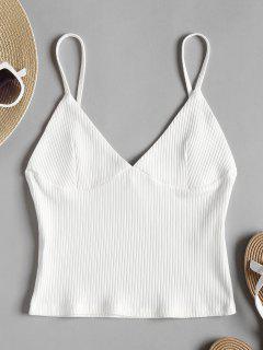Bralette Cami Top Acanalado Con Costuras - Blanco S