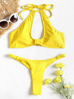 Cut Out Halter Thong Bikini - Yellow S