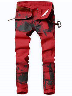 Splash-ink Print Slim Fit Jeans - Lava Red 34
